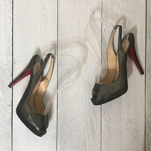Metallic Dot Christian Louboutin Peep Toe Heels